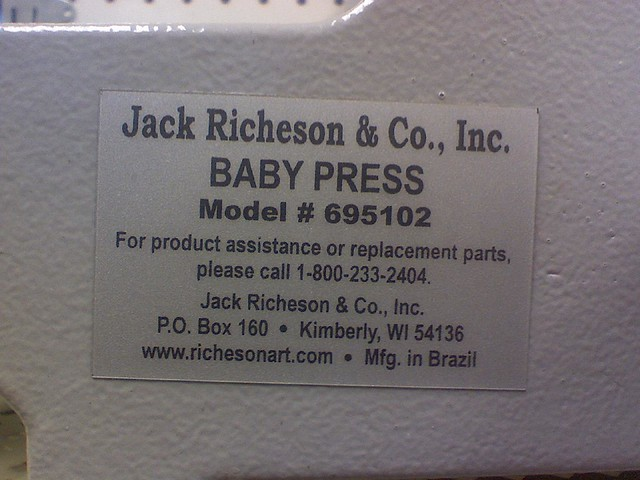 Jack Richeson Baby Press Detail Plate For This Baby