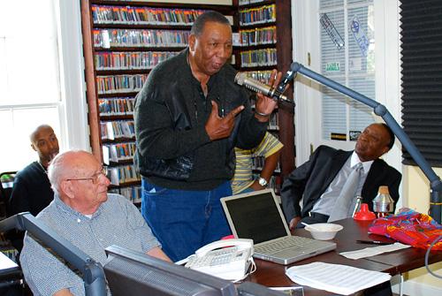 Don Bartholomew, Cosimo Matassa, Bob French, and Dave Bartholomew at WWOZ in 2008