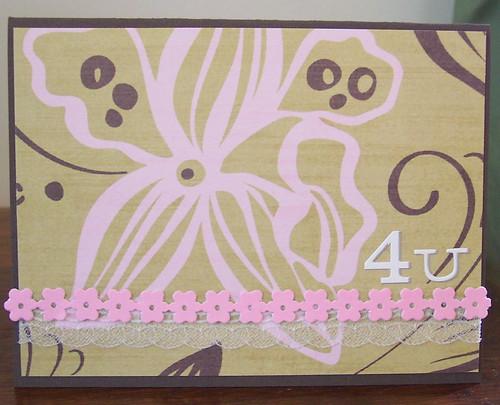 "4 u floral card  a 5 12"" x 4 14"" handmade card  linda"