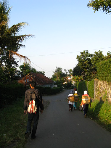 street morning sunrise work golden back walk hijab worker tudung jilbab