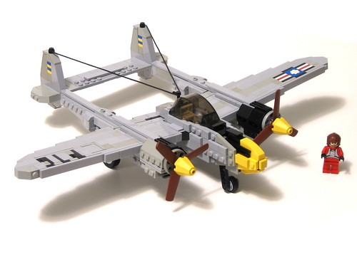 lighting airplane fighter lego wwii lockheed moc p38