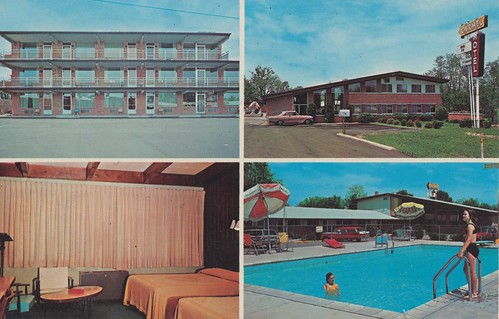 mailbox vintage postcard indiana motel carmel roomview poolview quadview