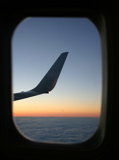 Wing and sunset out window | by S Baker