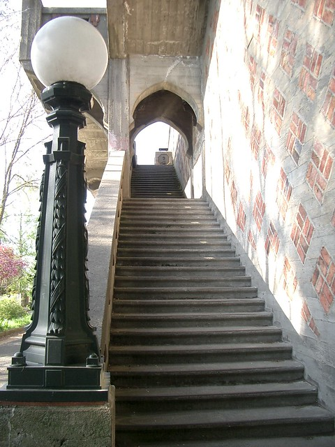 street lamp and steps