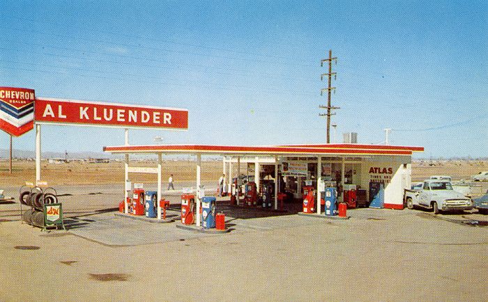 Chevron Gas Station, Phoenix, Arizona 1950's