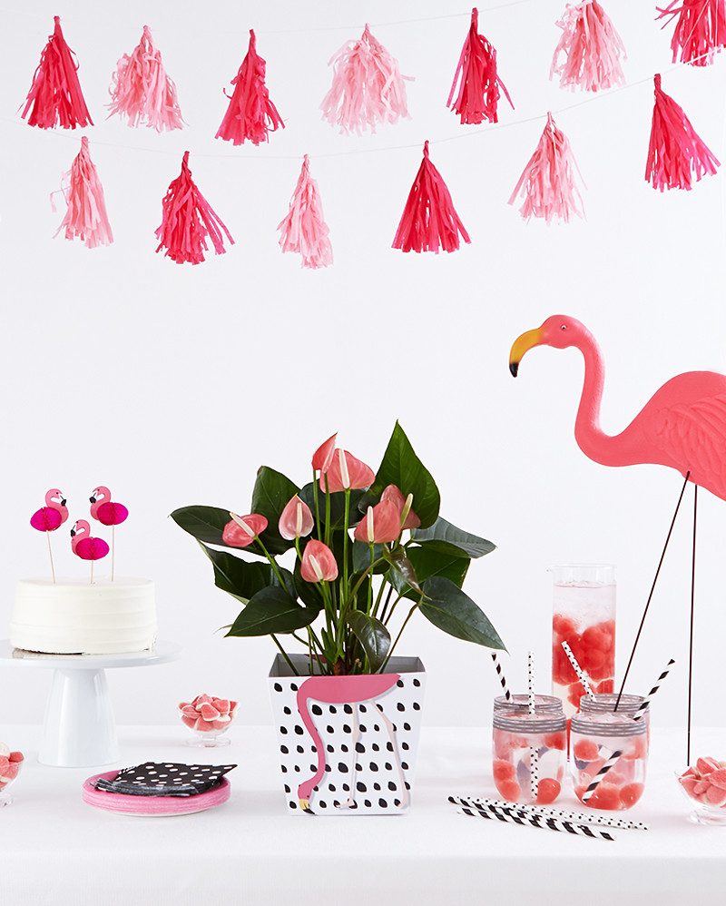 pink flamingo birthday party calla lily potted plant cake on platter mason jar glasses