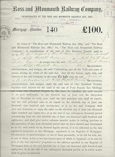 Ross and Monmouth Railway Mortgage  Certificate of 1872 | by ian.dinmore