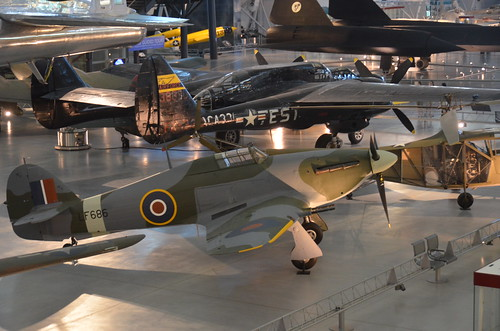 "Steven F. Udvar-Hazy Center: Hawker Hurricane Mk. IIC, with Northrop P-61C Black Widow, B-29 Superfortress ""Enola Gay"", and SR-71 Blackbird in the background 