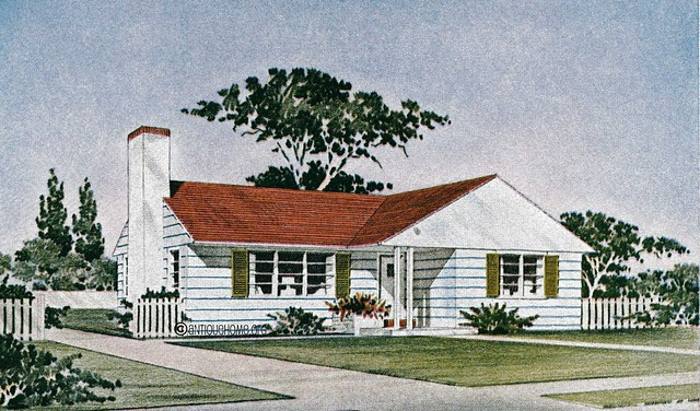 The Revere::1950s Ranch Style Home::House Plans