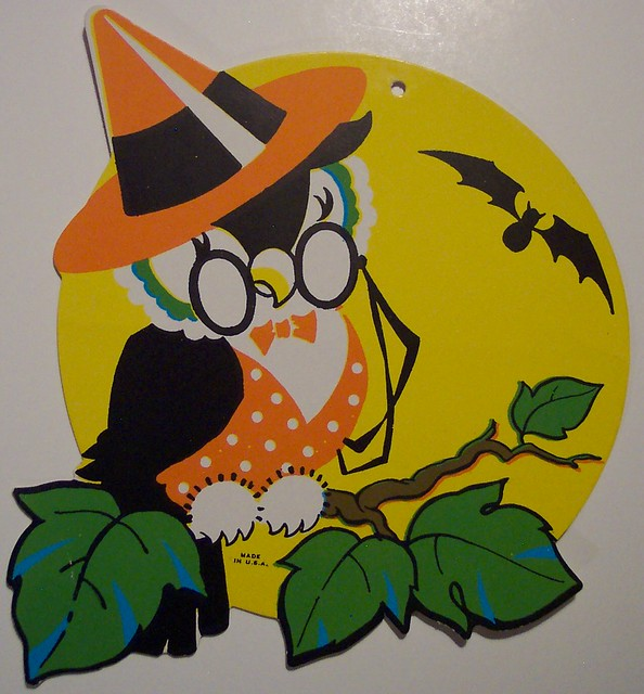Vintage Halloween Owl on Branch Diecut