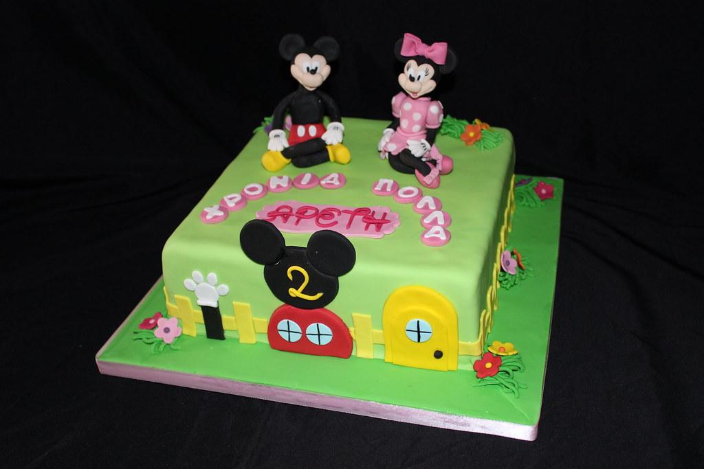 Fabulous Mickey Minnie Birthday Cake Glykodimiourgies By Maria Flickr Funny Birthday Cards Online Alyptdamsfinfo