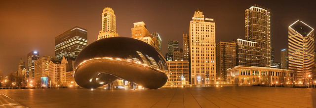 Chicago Skyline and Cloud Gate