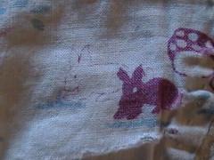 Vintage fabric rabbits and mushrooms