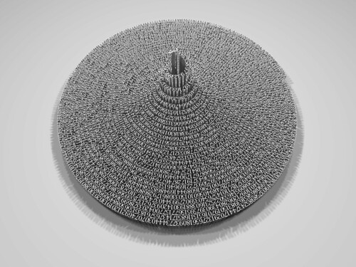 3998 digits of Pi arranged in descending spiral | by fdecomite
