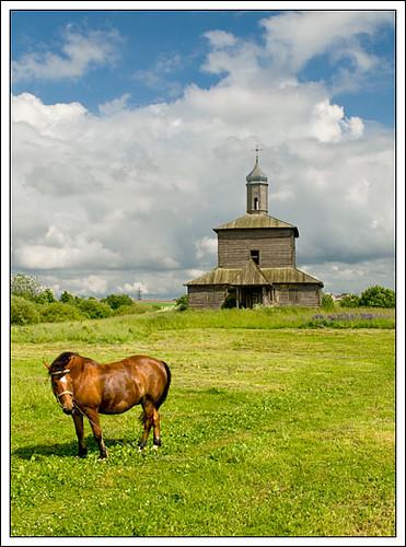 horse church landscape wooden village country belarus minsk