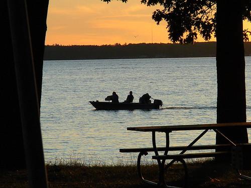 sunset landscape michigan cadillac picnictable lakemitchell lakemitchel