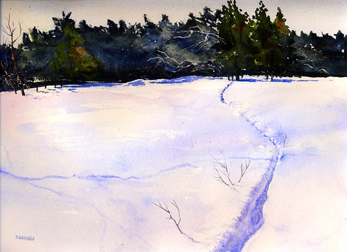 winter snow cold art watercolor painting studio landscape artwork path blowing transparent deertrail deerfieldpark whiteofthepaper isabellacountyparksandrecreation