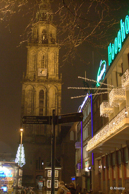 Groningen by Night,the Netherlands,Europe.