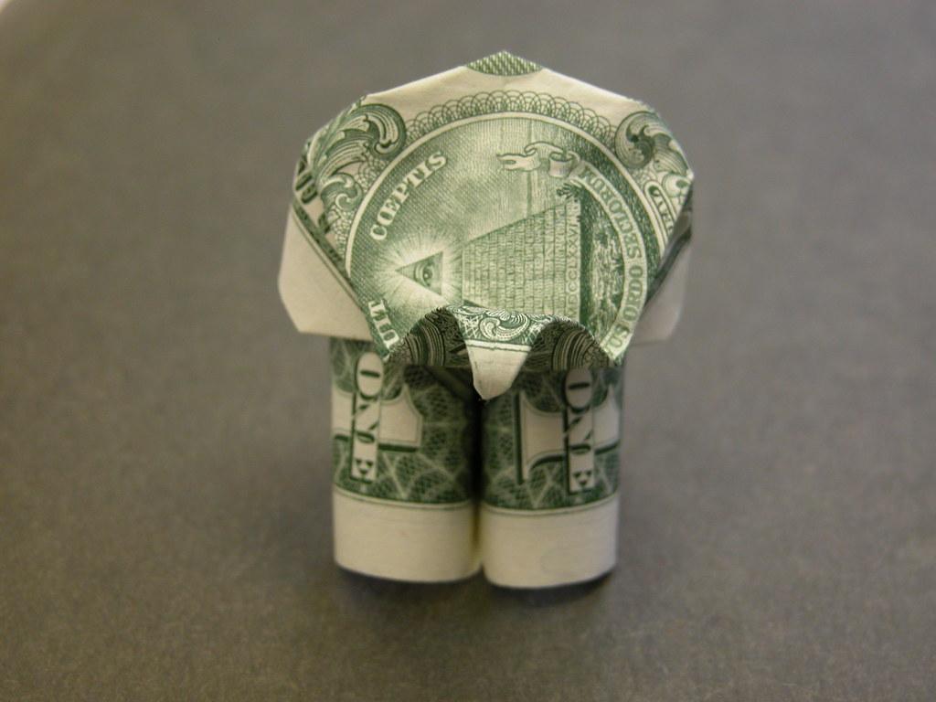 Money 1$ Dollar Bill Origami ELEPHANT 3D Statue Lucky C | 768x1024