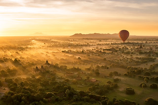 Balloon Over Bagan at Sunrise | by essjayt