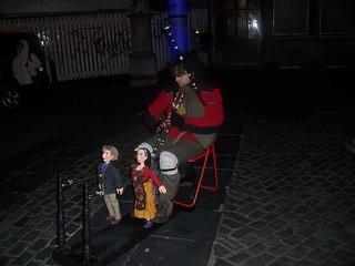 Street musician during Christmas market