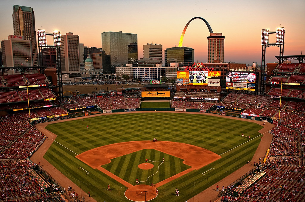 St Louis Busch Stadium At Sunset Large On Black See Wher Flickr
