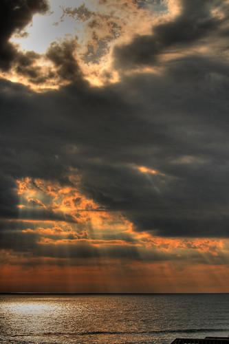 sea sky cloud sun beach dark northcarolina obx