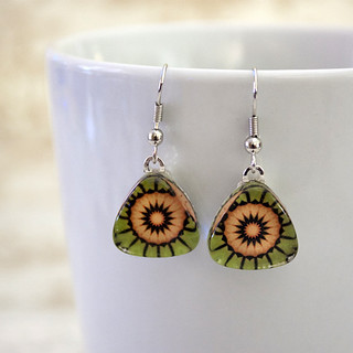 Mandala Kaleidoscope Triangle Sterling Silver Earrings