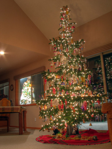 christmas decorations holiday snow tree woodland washington ornaments fir wa hdr noble canons3