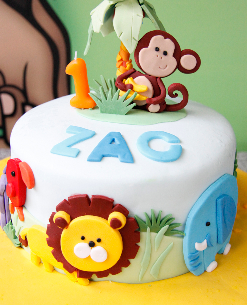 Super Jungle Themed 1St Birthday Cake I Made This For My Sons 1 Flickr Personalised Birthday Cards Bromeletsinfo