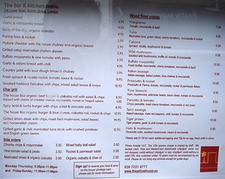 September 2008 menu at the Yellow House Bar, London SE16 | by Kake .