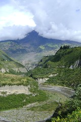 Skirts of Tungurahua volcano showing mudflows