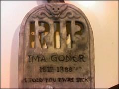 Ima Goner Headstone Epitaph Detail   by trentsketch