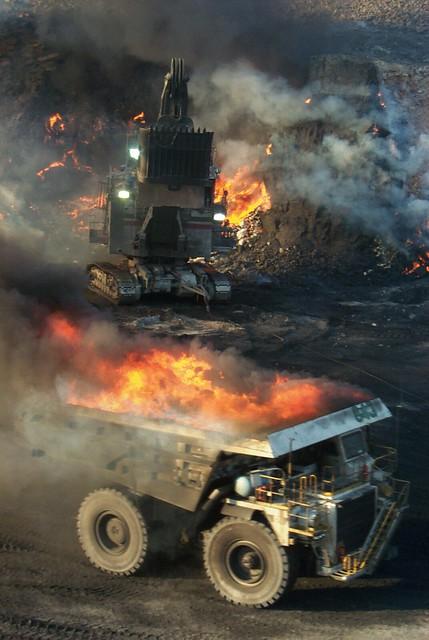 Mining burning coal