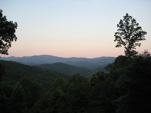 blue trees sunset sky orange mountains against beautiful look way is mixed southern appalachian