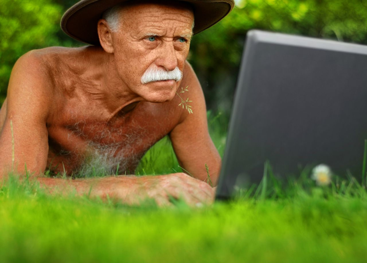 Old man and computer