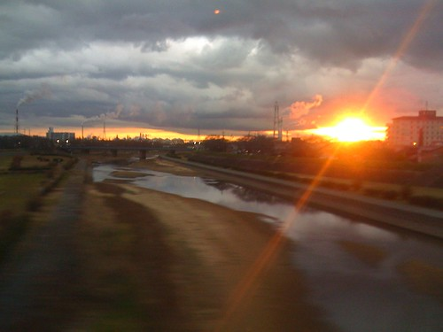 travel japan sunrise river cloudy 日本 nippon mie yokkaichi