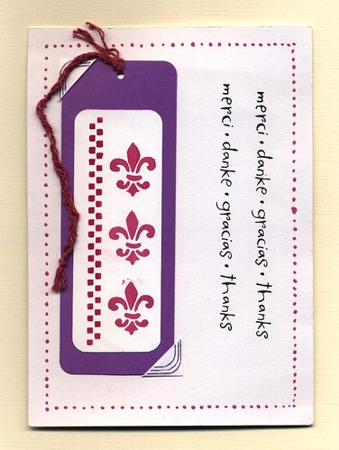 Stenciled card with bookmark