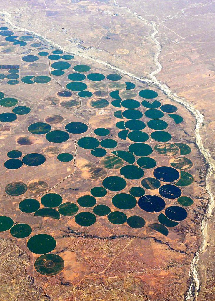 Desert farming | I believe this was taken over eastern Arizo
