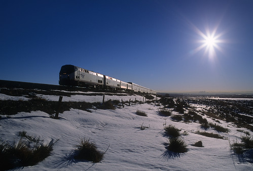 railroad sun snow train sunrise colorado amtrak co locomotive ge glint no5 greatplains passengertrain leyden californiazephyr p42dc cityofdenver upmoffattunnelsubdivision