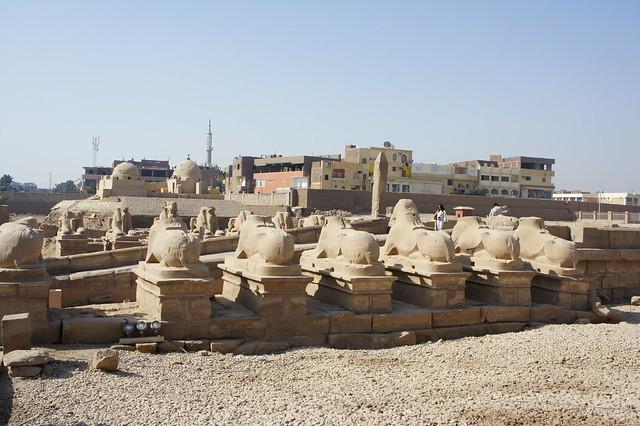 The avenue of Ram sphinxes in Egypt's Karnak temple