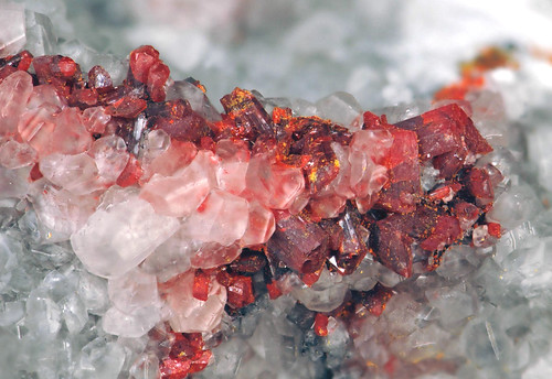 Realgar & pararealgar & calcite on marble (Middle Eocene mineralization, 39 Ma; Getchell Mine, northern Osgood Mountains, northern Nevada, USA) 2 | by James St. John