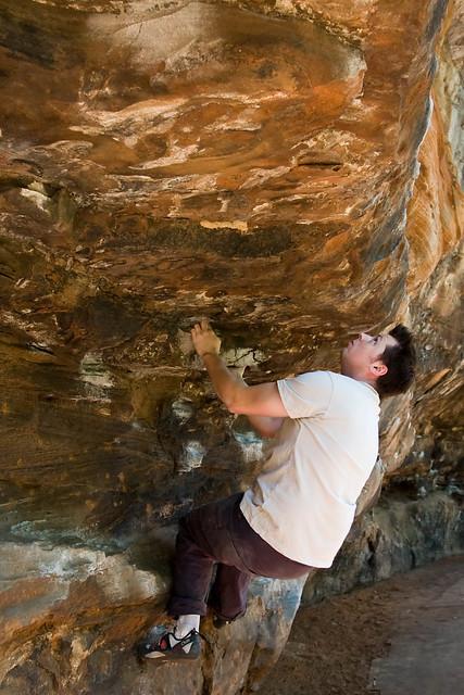 tim bouldering at the big pump