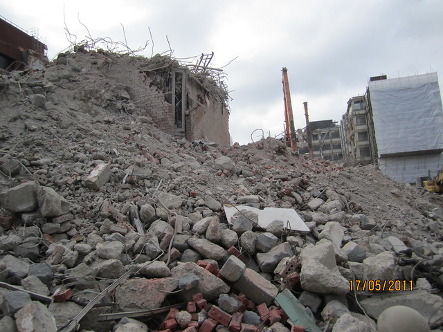 Rubble of Nat West Bank  - Demolition in Progress Leman St E1