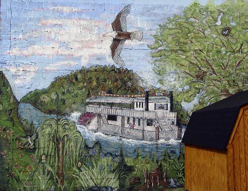 river mural tn eagle tennessee celina baldeagle riverboat cumberlandriver paddlewheel claycounty bmok tn52