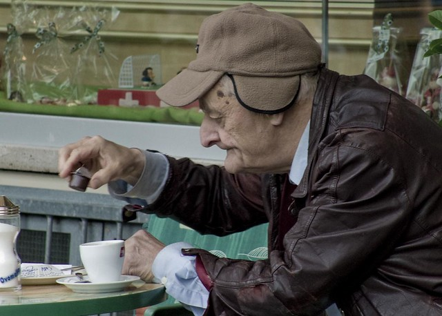 Image result for old man with coffee