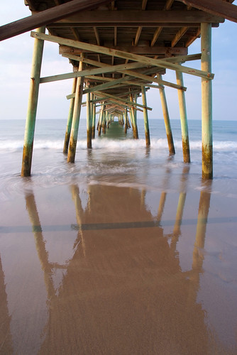 ocean reflection beach sunrise pier long exposure waves northcarolina atlanticbeach fujis5