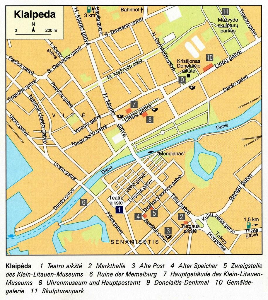 005 Memel - lit. Plan | Stadtplan von Klaipèda, das mit ...