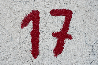 Close-up of the number 17 in red paint | by Horia Varlan