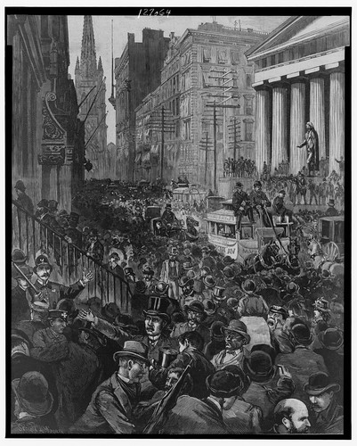 No Known Restrictions: The Panic - Scenes in Wall Street Wednesday Morning, May 14 / drawn by Schell and Hogan, 1884 (LOC)   by pingnews.com